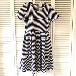 Lularoe Amelia Blue and white stripe Large Dress